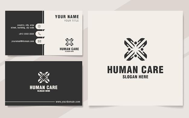 Human care logo template on monogram style