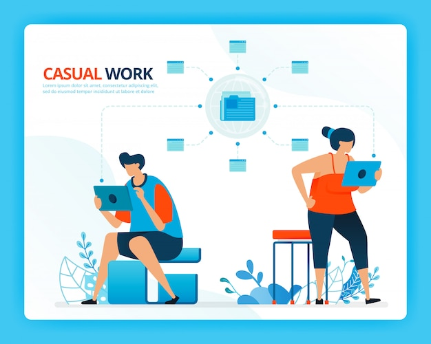 Human cartoon illustration for casual working and internet network.