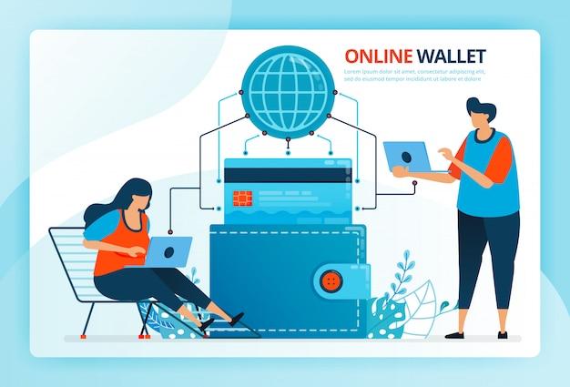 온라인 지갑 및 신용 카드 결제에 대 한 인간의 만화 그림.