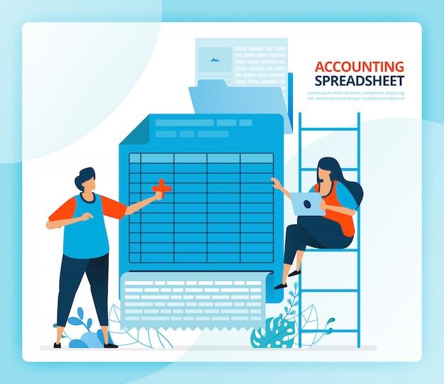 スプレッドシート会計と貸借対照表レポートの人間の漫画イラスト。