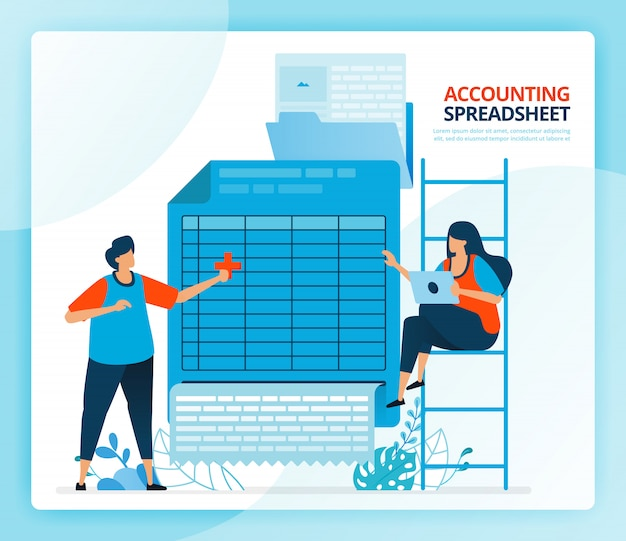 Human cartoon illustration for spreadsheet accounting and balance sheet reports.