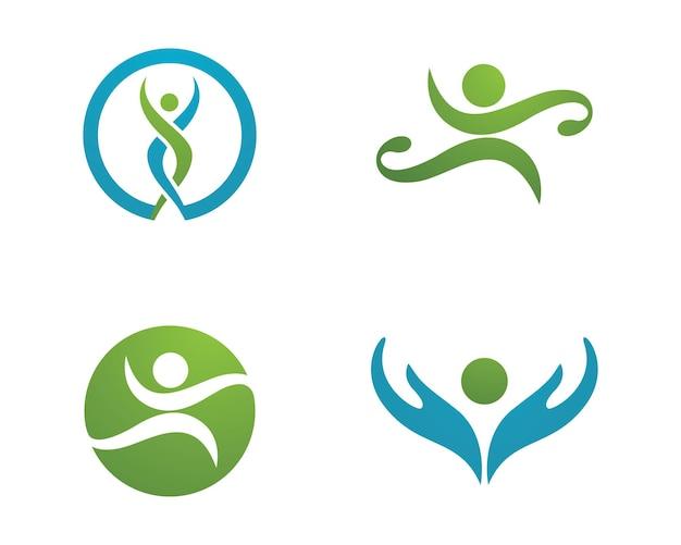 Знак логотипа человеческого характера знак логотипа здравоохранения. знак эмблемы природы. знак логотипа зеленой жизни. векторный шаблон логотипа.