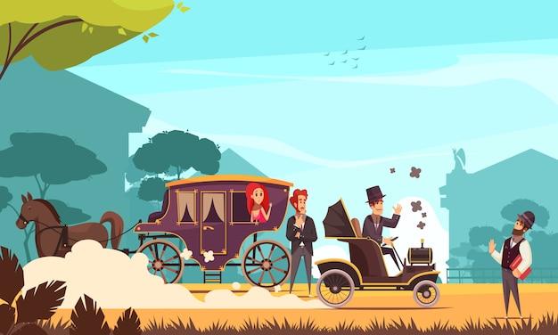 Человеческие персонажи и старый наземный транспорт конный экипаж и старинный автомобиль на двигатель сгорания мультфильм
