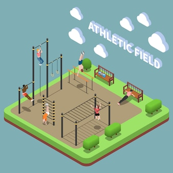 Human characters during training on athletic field with sports facilities isometric composition on turquoise