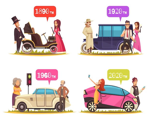 Human characters and ground transportation from ancient time till today cartoon design concept