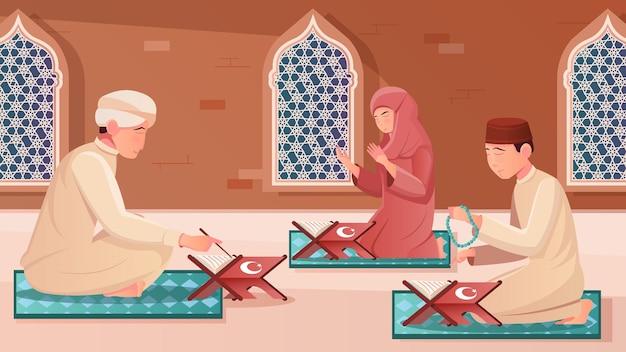 Human characters learning koran on their knees flat illustration