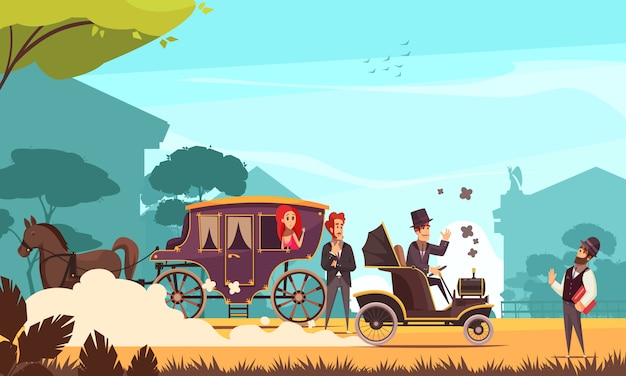 Human characters and old ground transportation horse carriage and ancient car on combustion engine cartoon