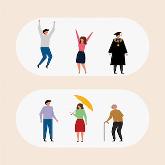 Human Characters Pack in Flat Design