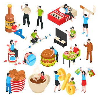 Human characters with bad habits alcohol and drug shopaholism fast food isometric icons set