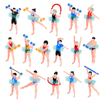 Human characters with sport equipment during aqua aerobics class set of isometric icons isolated illustration