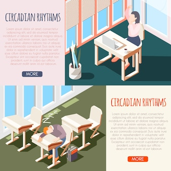 Human circadian rhythms isometric banner set with sleeping peoples and buttons more  illustration