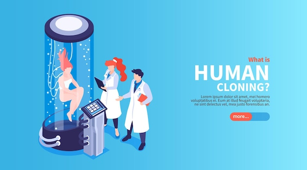 Webバナーテンプレートを使用した人間のクローンの図。大きなガラスのカプセルで女性の人間を見ている科学者