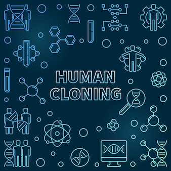 Human cloning outline blue