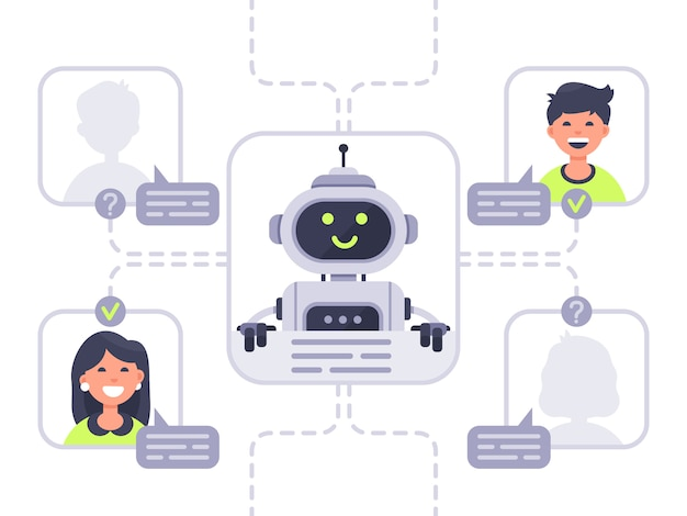 Human communicates with chatbot. virtual assistant, support and online assistance conversation with chat bot  illustration