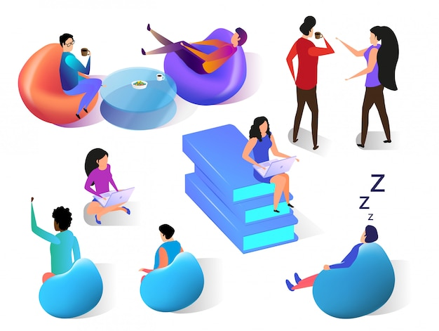 Human communication flat isometric set on white