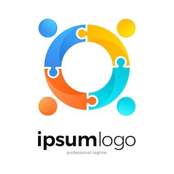 Логотип человеческого сообщества в стиле пазл
