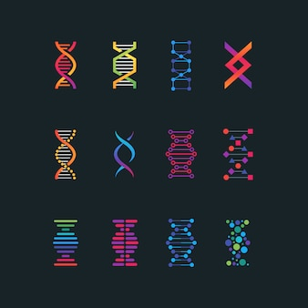 Human dna research technology symbols.