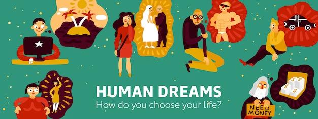 Illustrazione di sogni umani