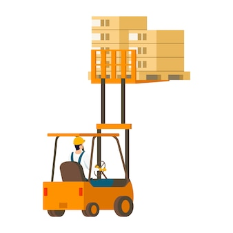 Human-driven forklift car lifting wooden box up