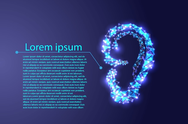 Human ear in wireframe style isolated on blue background.
