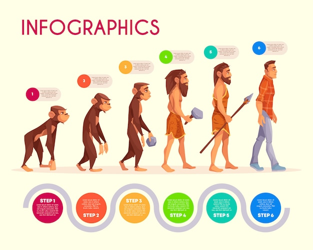 Human evolution infographics. steps of monkey transforming to modern man, time line.