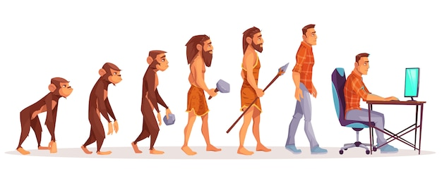 Evoluzione umana della scimmia al programmatore dell'uomo moderno, utente del computer isolato su bianco.