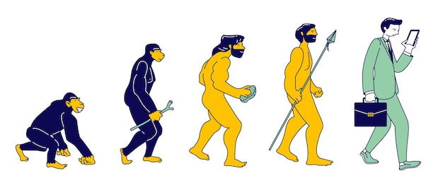 고립 된 스마트폰으로 현대 사업가에 원숭이의 인간 진화. 남성 캐릭터는 원숭이에서 직립 호모 사피엔스로 단계 진화, 다윈 이론. 만화 평면 벡터 일러스트 레이 션, 라인 아트