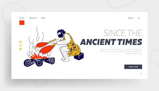 Human evolution, prehistory civilization period landing page template.