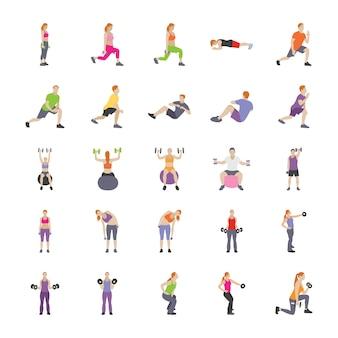 Человек упражнения плоские иконки