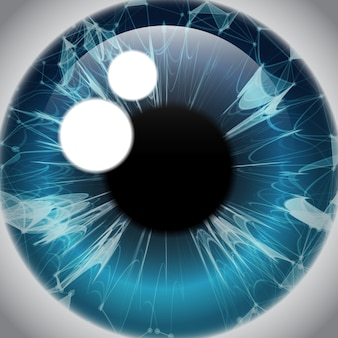 Human eye iris, realistic eyeball icon