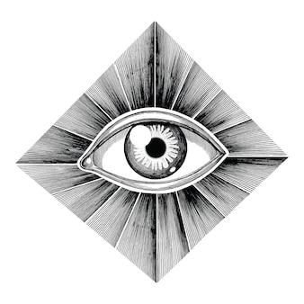 光線の入れ墨の手で人間の目を描く白い背景に分離されたヴィンテージの彫刻