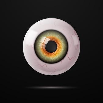 Human eye with veins on a dark background.