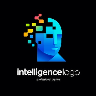 Human face logo with technology pixels