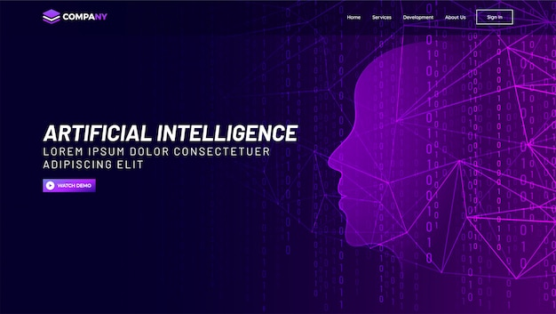 Human face made with network and binary digit