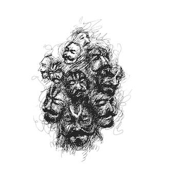 Человеческие лица непрерывного рисования линий головы