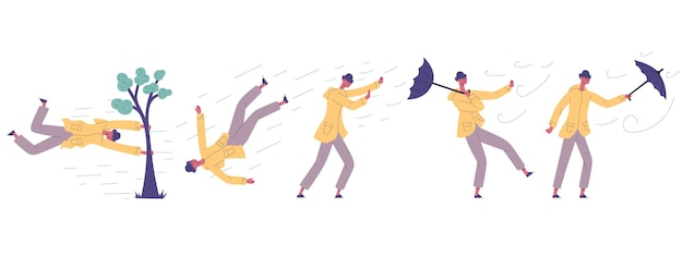 Human fight against hurricane wind power disaster. man hit in extreme natural disaster strong wind, hurricane, shower rain vector illustration set. male character hit storm