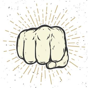 白い背景の上の人間の拳のイラスト。図