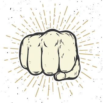 Human fist illustration on white background.  illustration