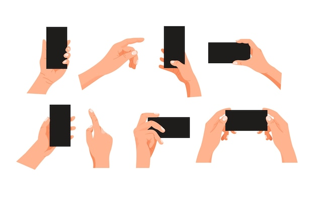 Человеческий жест с помощью современного смартфона клипарт
