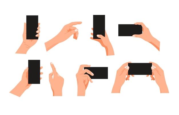 Human gesture using modern smartphone clipart