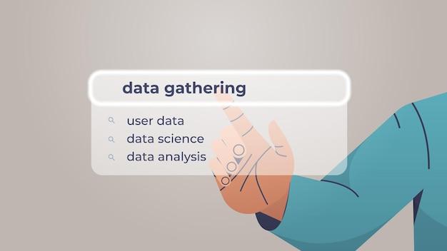 Человеческая рука выбирает сбор данных в строке поиска на виртуальном экране
