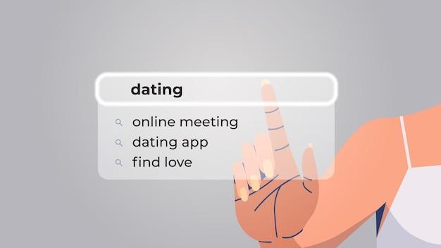 Human hand choosing dating in search bar on virtual screen