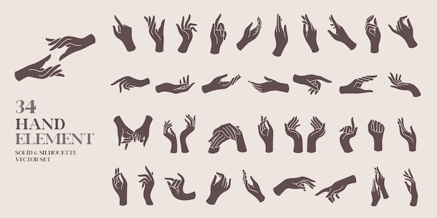 Human hand element solid and silhouette vector illustration set vintage and bohemian style