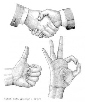 Human hand gesture drawing engraving illustration