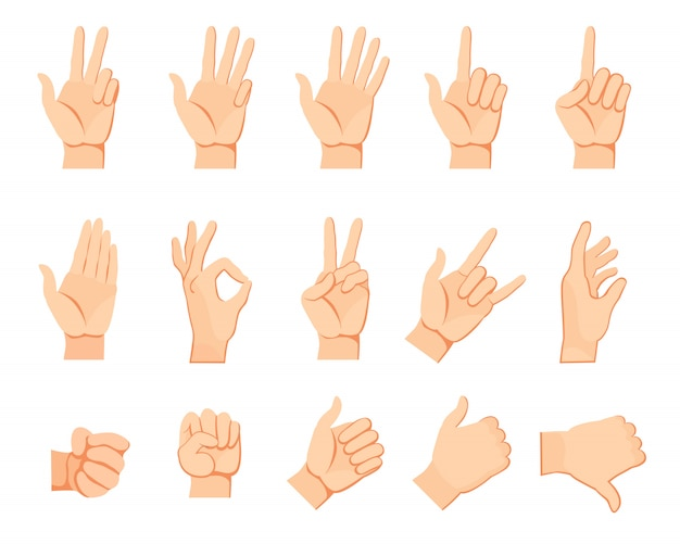 人間の手のジェスチャーセット