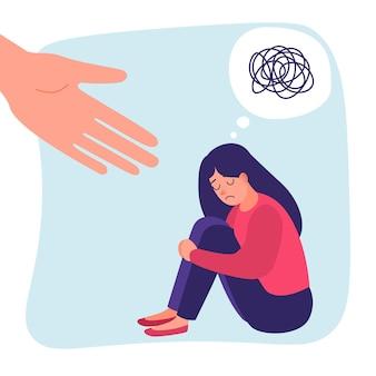 인간의 손이 도움이 됩니다. 우울증에 슬픈 외로운 여자입니다. 불안 장애. 미친듯한 지저분한 라인. 벡터 도움말 개념입니다. 지저분한 라인 스트레스 소녀