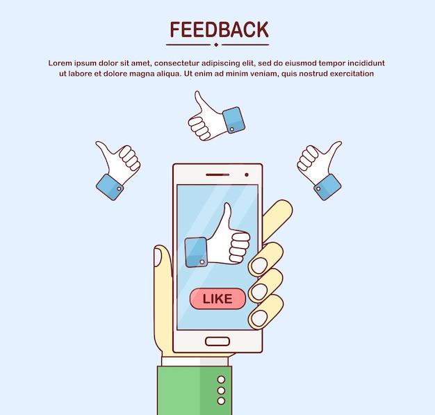 인간의 손을 잡고 엄지 손가락 기호 휴대 전화. 소셜 미디어 좋아요, 고객 피드백, 우수한 리뷰, 투표