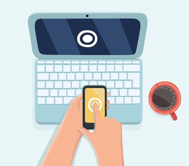Human hand hold smart phone