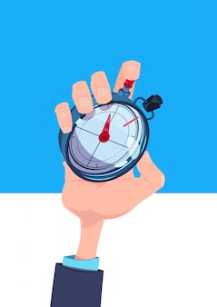 Human hand hold stopwatch time manager chronometer timer concept flat vertical