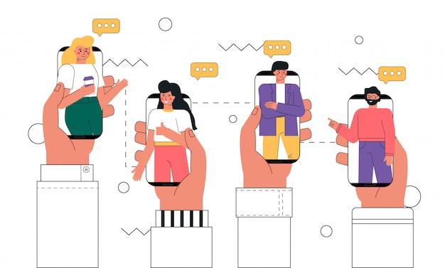 画面、コラボレーションの概念、チャット、ビデオ通話、デジタル通信で男とスマートフォンを持っている人間の手。